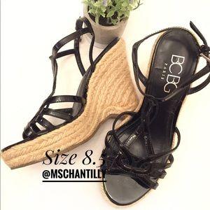 BCBG Jute Wedges Black Patent Upper Shoes Size 8.5